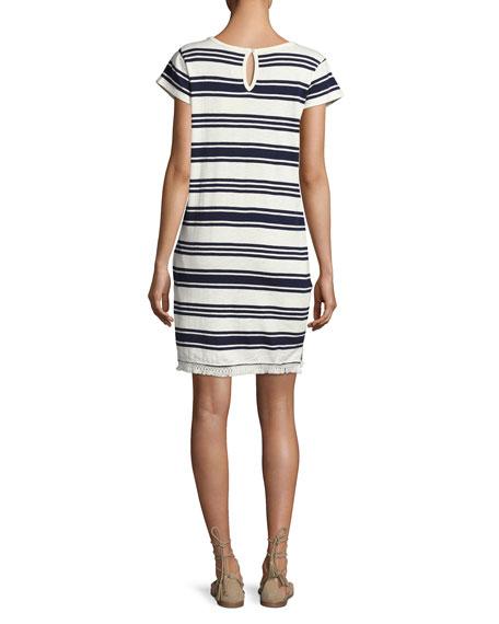 Nanae Striped Cotton Tassel-Hem Shift Dress