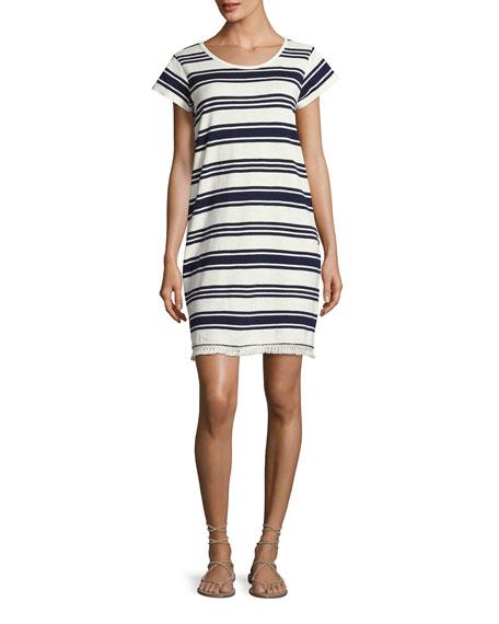Joie Nanae Striped Cotton Tassel-Hem Shift Dress