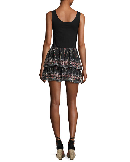 Lyane Convertible Tiered Silk Top/Skirt, Black