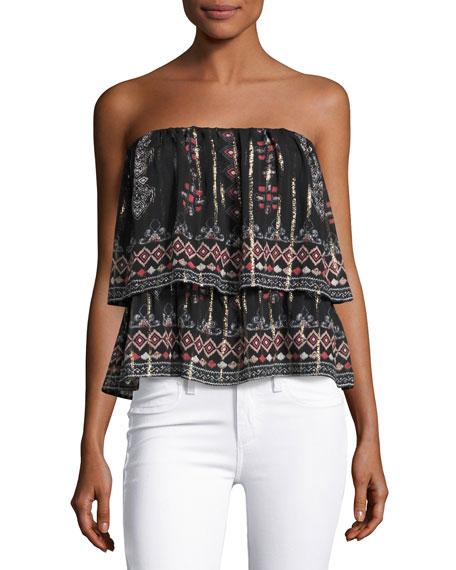 Joie Lyane Convertible Tiered Silk Top/Skirt, Black