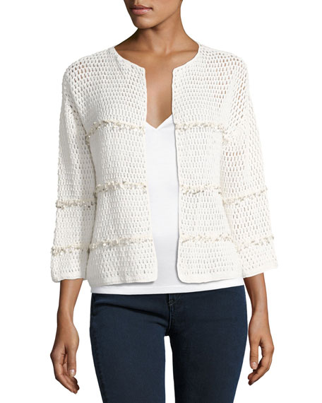 Joie Jacquine Open-Front Cardigan Sweater, White