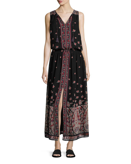 Joie Phanette Printed Silk Maxi Dress, Black