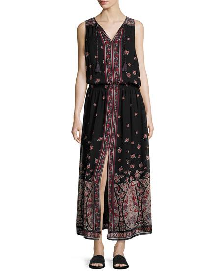 Joie Phanette Printed Silk Maxi Dress, Black