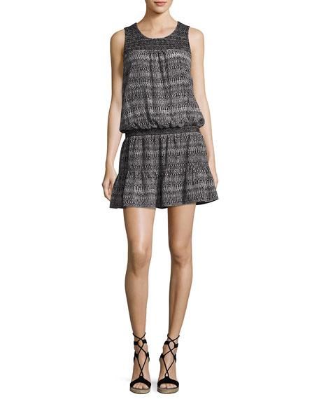 Joie Leilou Printed Sleeveless Silk Dress, Black