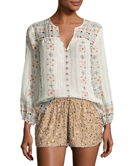 Joie Maguie Embroidered Silk Top, Porcelain