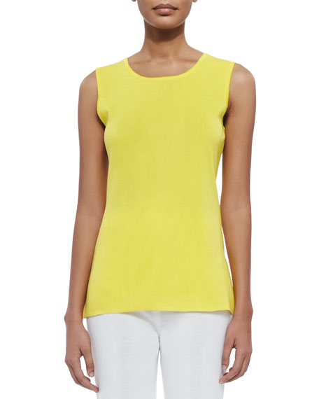 Misook Sleeveless Long Tank, Yellow