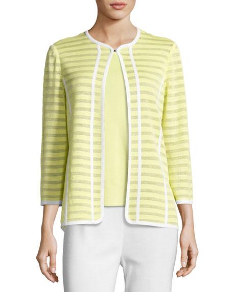 Misook Striped Ribbon-Trim Textured Jacket, Daiquiri Green and