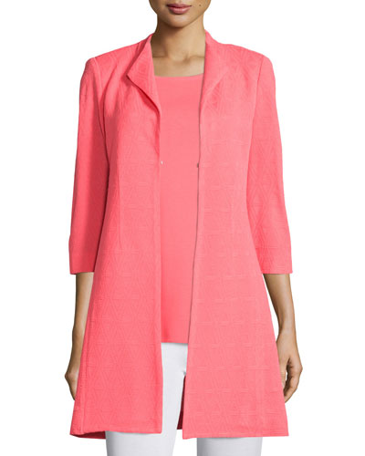 Patterned Long Statement Jacket, Coral, Petite