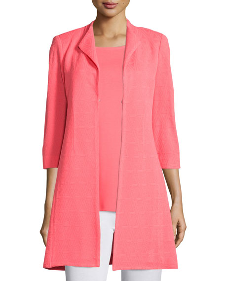 Misook Patterned Long Statement Jacket, Coral, Petite