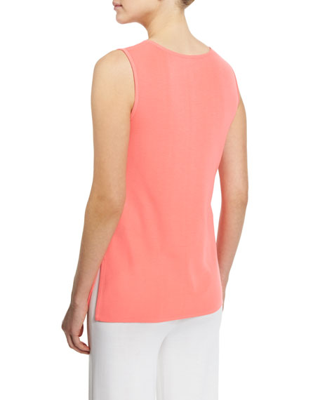 Sleeveless Long Tank, Vivid Coral, Petite