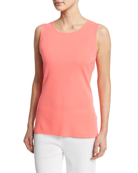 Misook Sleeveless Long Tank, Coral, Plus Size