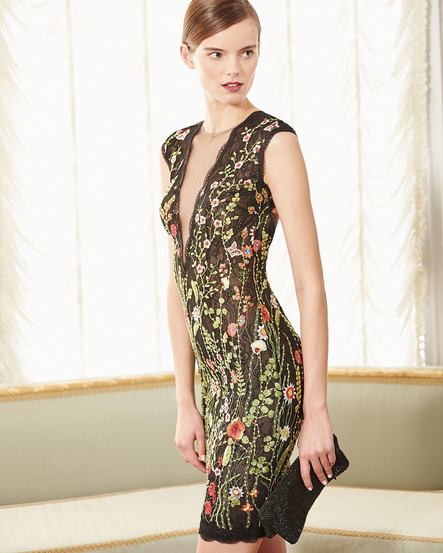 Jovani Cap-Sleeve Floral Open-Back Cocktail Dress, Multicolor ...