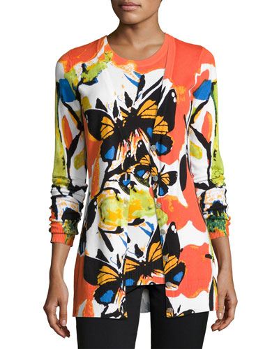 Spicy Butterfly Button-Front Cardigan, Plus Size