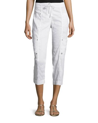 Drawstring Cropped Cargo Pants, White, Plus Size