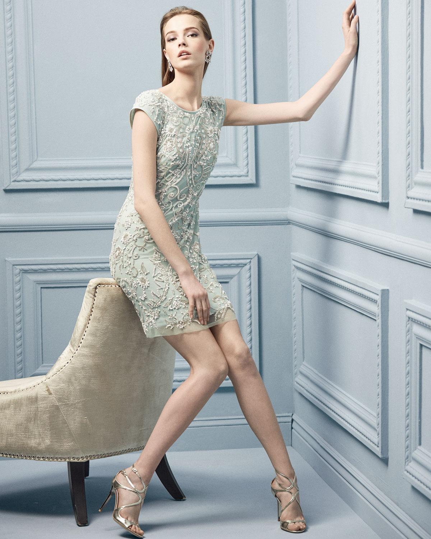 Aidan Mattox Short-Sleeve Beaded Mesh Cocktail Dress | Neiman Marcus