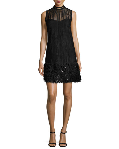 Elie Tahari Mirage Beaded Georgette Cocktail Dress, Black
