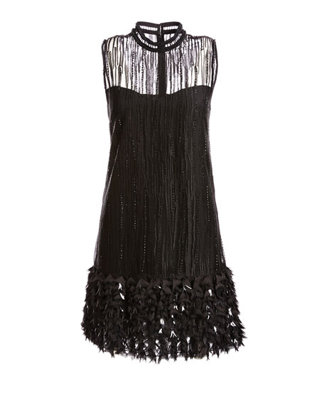 Mirage Beaded Georgette Cocktail Dress, Black