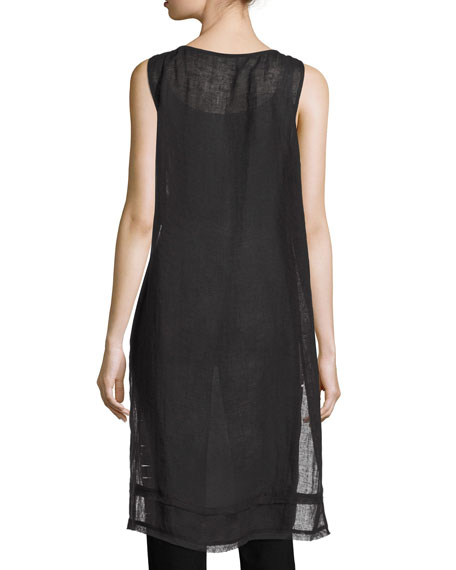 Sleeveless Organic Linen Gauze Tunic, Black