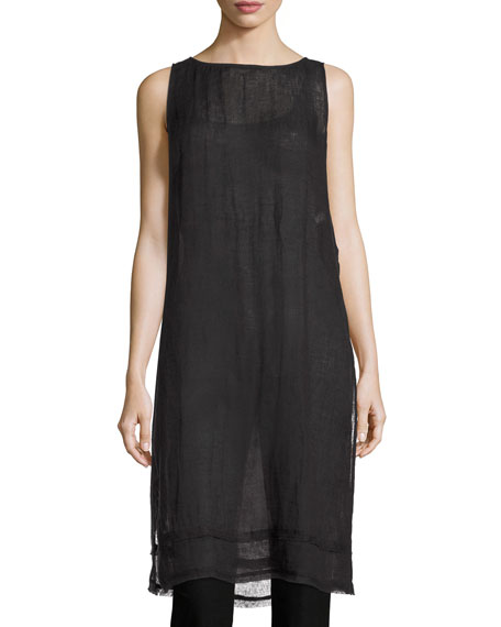 Eileen Fisher Sleeveless Organic Linen Gauze Tunic, Black