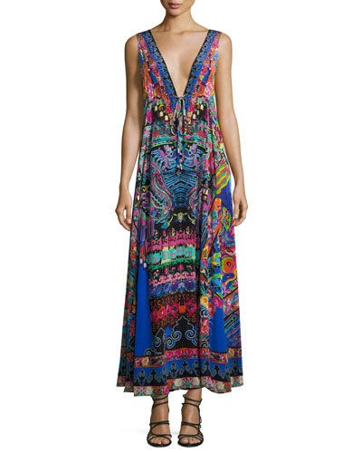 Long V-Neck Drawstring Silk Dress, Blue-Multi