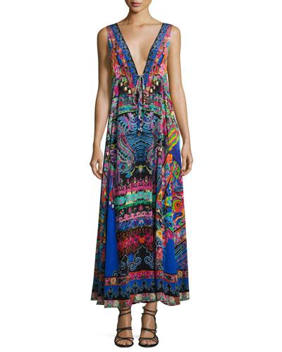 Long V-Neck Drawstring Silk Dress, Blue-Multi
