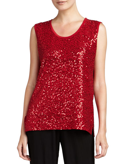 Sequined Scoop-Neck Tank, Ruby
