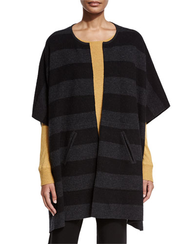 Reversible Felted Striped Wool Poncho, Charcoal/Black, Petite