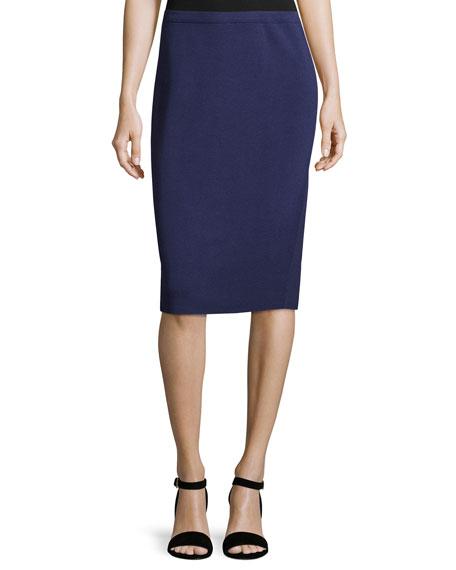 Silk-Cotton Straight Skirt, Dark Night