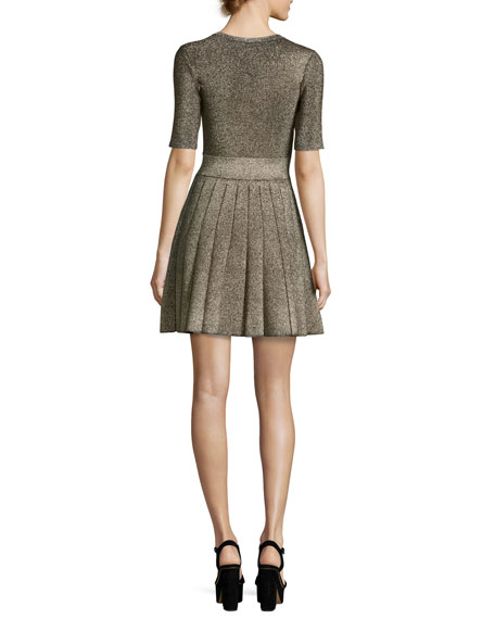 Susana Pleated Metallic Fit-and-Flare Dress