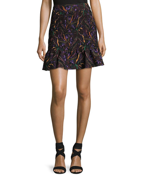 Maggie Floral-Print Pintuck Skirt, Plum Botany