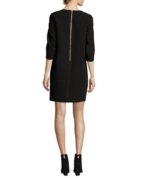 Miriam 3/4-Sleeve Finesse Crepe Dress, Black