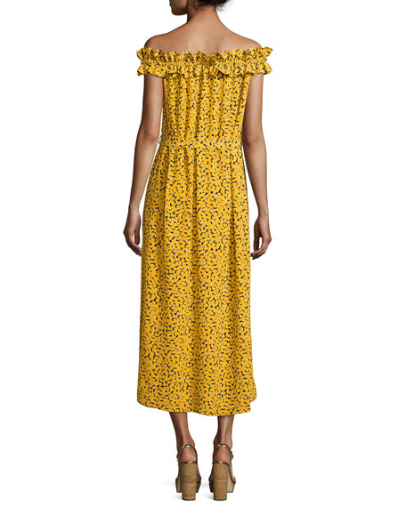 Finley Off-the-Shoulder Printed Maxi Dress, Yellow