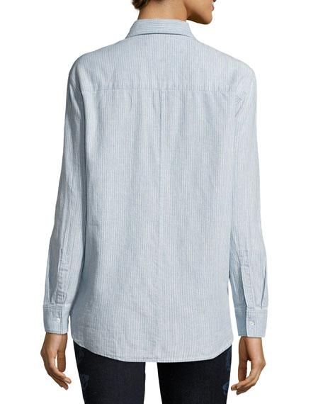 Pacific Long-Sleeve Linen-Cotton Shirt, Blue/White
