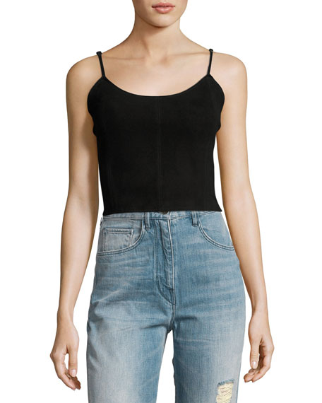 Haute Hippie The Jolene Cropped Suede Tank Top,