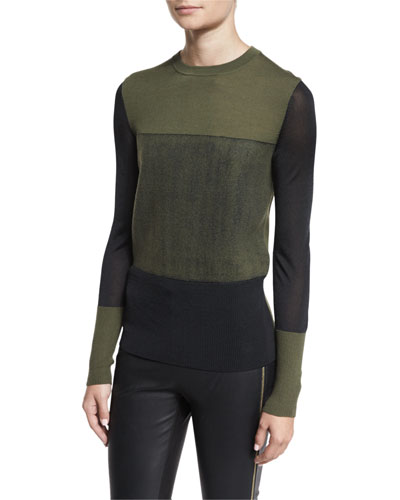 Marissa Colorblock Crewneck Wool Top, Army