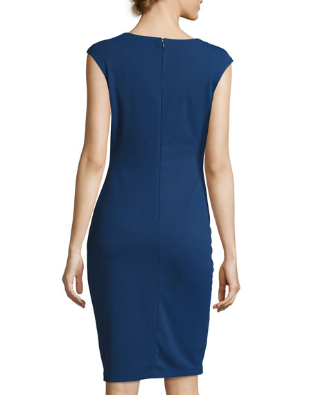 Floral-Embroidered Sheath Midi Dress, Blue Pattern
