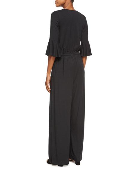 Niky V-Neck 3/4-Sleeve Jumpsuit, Black, Plus Size