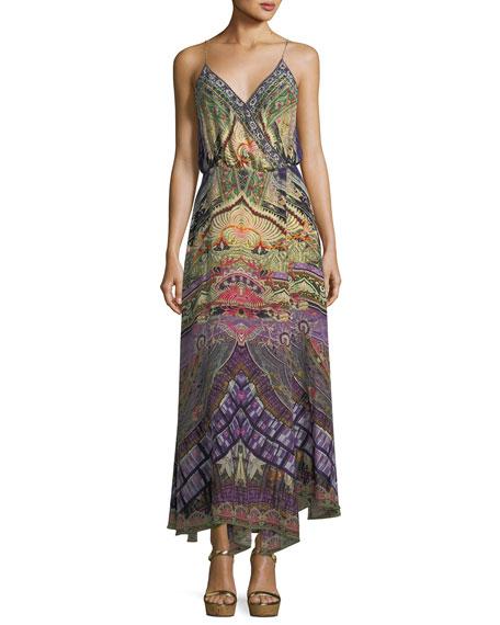 Embellished Sleeveless Silk Wrap Dress