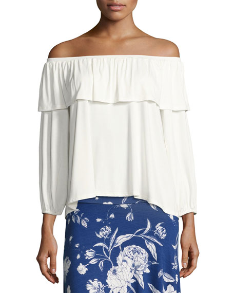 Rachel Pally Diandre Off-the-Shoulder Top, White