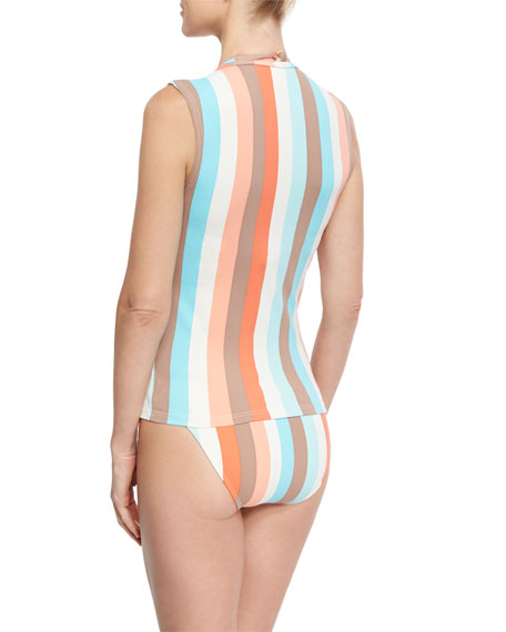 Sleeveless Striped Zip Rashguard, Multistripe