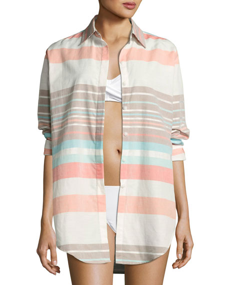 Stripe Button-Down Beach Shirt, Multicolor