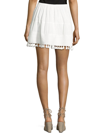 The Park Tassel-Trim Skirt, White
