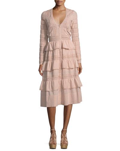 Rebecca Embroidered Cotton Midi Dress. White