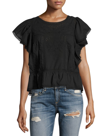 Loveshackfancy Rosemary Embroidered Cotton Top, Black