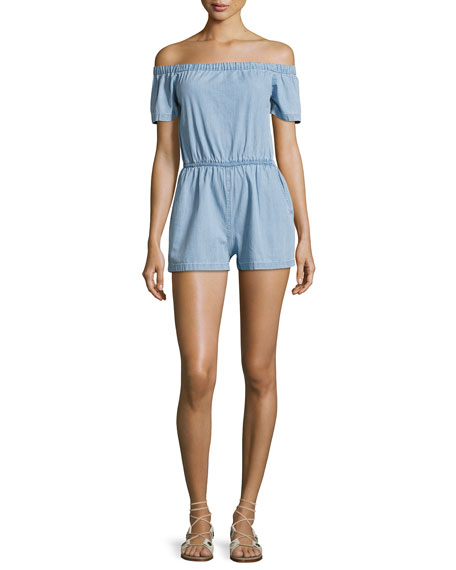 3x1 Clark Off-the-Shoulder Cotton Romper, Blue