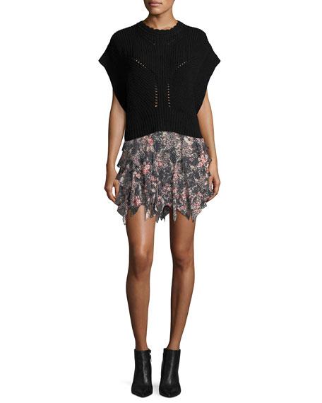 Jocky Ruffled Printed Cotton Mini Skirt