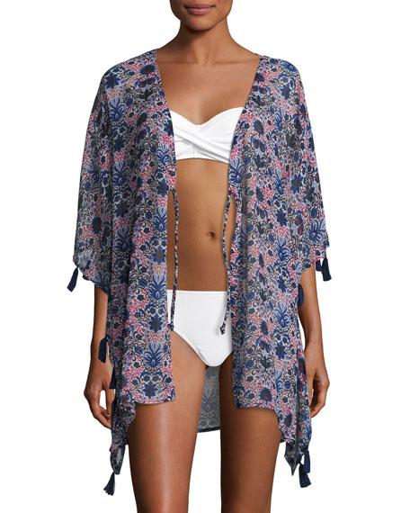 Letarte Printed Kimono Coverup W/ Tassels, Multicolor