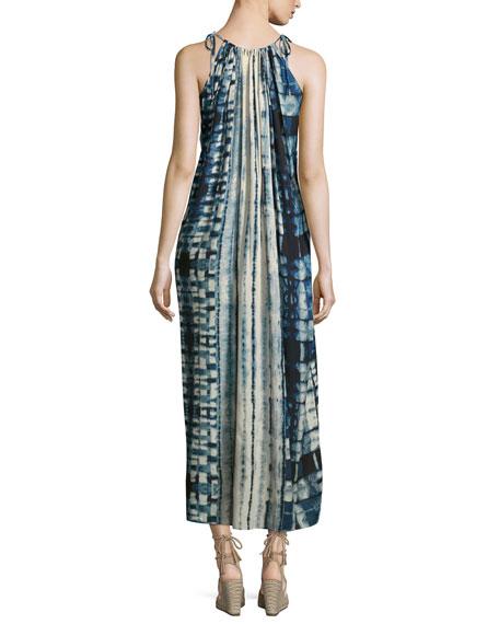 Tie-Shoulder Tie-Dye Long Dress, Multi