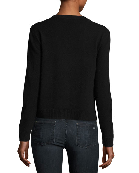 Cashmere Zip It Red Lips Pullover, Black