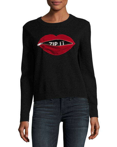 Milly Cashmere Zip It Red Lips Pullover, Black